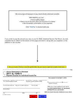 Fillable Online tax illinois 2011 IL-1040-V - Illinois Department ...