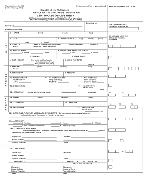 certificate of live birth form Phils Certificate Of Live Birth Fillable - Fill Online, Printable ...