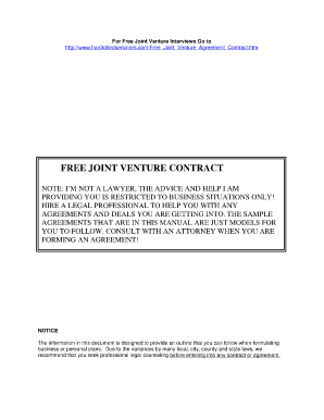 Joint venture agreement fillable form