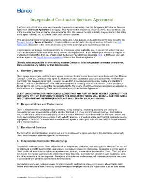 elance independent contractor agreement form
