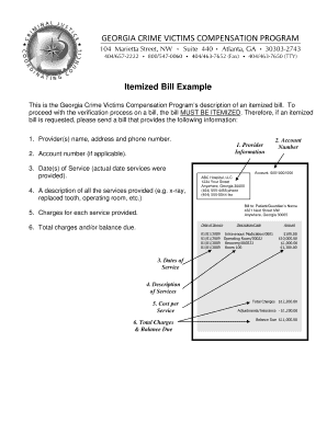 fillable online itemized bill example fax email print pdffiller