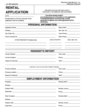Rental Application Form Wisconsin No 996 - Fill Online, Printable ...