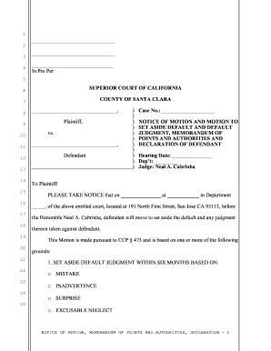 Motion Set Aside Default Judgment - Fill Online, Printable