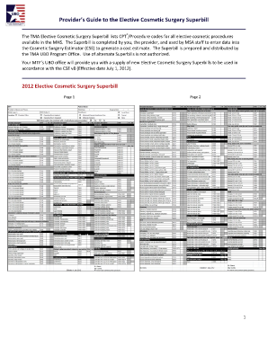 Cosmetic Surgery Superbill 2015 - Fill Online, Printable ...