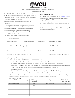 Worksheet Dependent Verification Worksheet dependent verification worksheet form fill online printable online