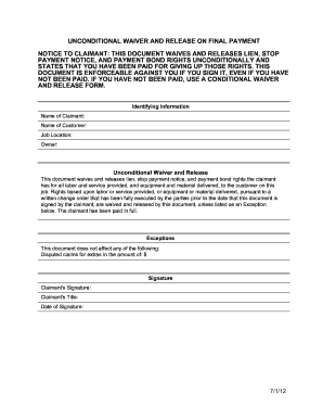 Bill of sale form california conditional and unconditional for Final lien waiver template
