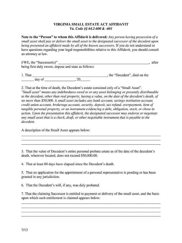 VA Small Estate Act Affidavit 2013
