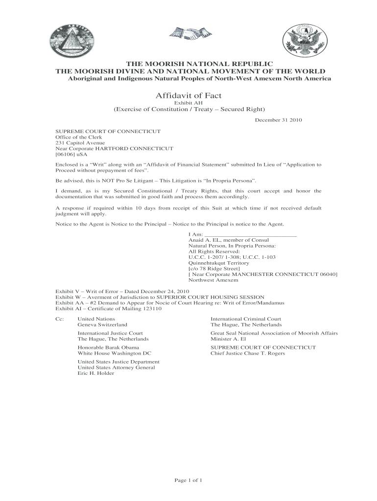 Declaration Of Nationality Affidavit - Fill Online, Printable