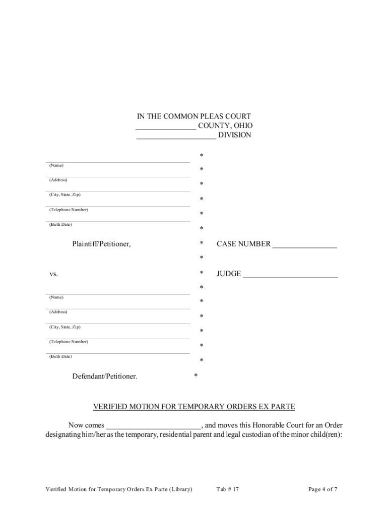 Ohio Motion Ex Parte - Fill Online, Printable, Fillable, Blank