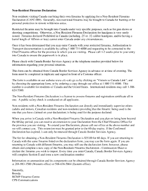 Fillable Online handgunlaw Non-Resident Firearms Declaration Non ...