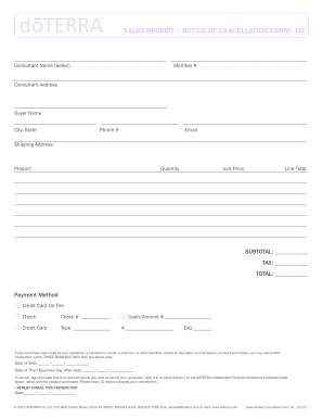 2012 Form Doterra Sales Receipt Cancellation Form Us Fill