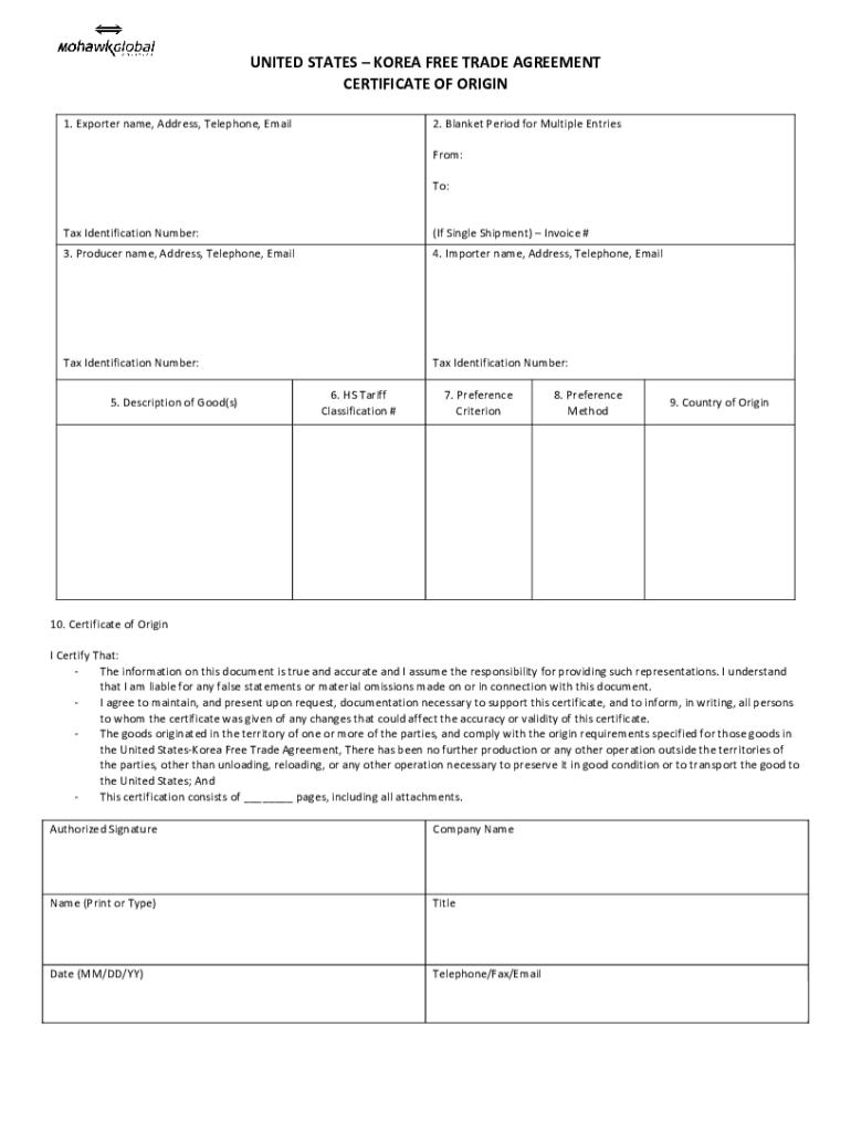 certificate origin korea template form agreement printable trade fill blank fillable pdffiller forms