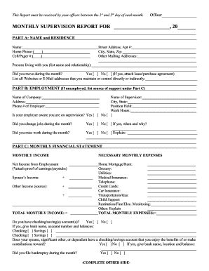how help fill out monthly probation report form