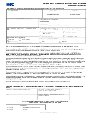 Hipaa authorization fillable form