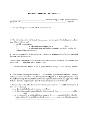 bill of sale for personal items form