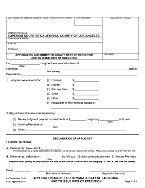 Unlawful Detainer Emergency Stay Of Execution Forms California ...