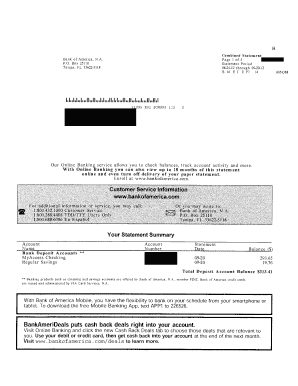 Fake Bank Of America Statement Template - Fill Online, Printable ...