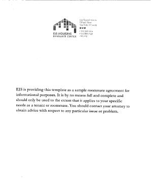 fillable online sample roommate agreement eis eis housing