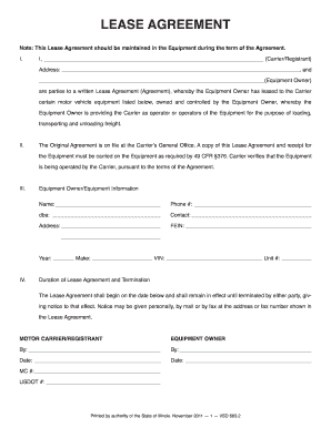 Vehicle Lease Agreement Forms And Templates Fillable