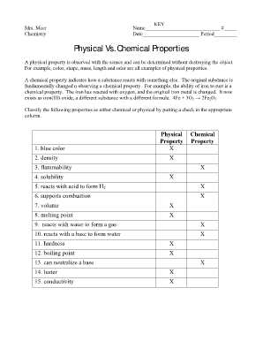 Physical And Chemical Properties Worksheet Fill Online Printable