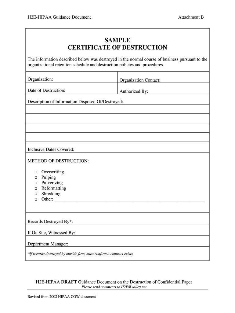 Certificate Of Destruction Template - Fill Online, Printable In Certificate Of Disposal Template