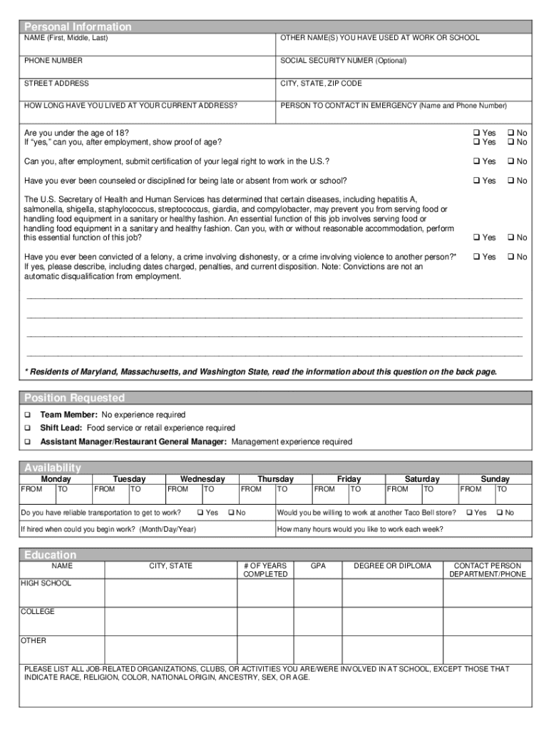 image regarding Printable Taco Bell Applications identified as Taco Bell Program - Fill On the internet, Printable, Fillable