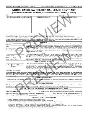 Bill Of Sale Form North Carolina Residential Lease Agreement