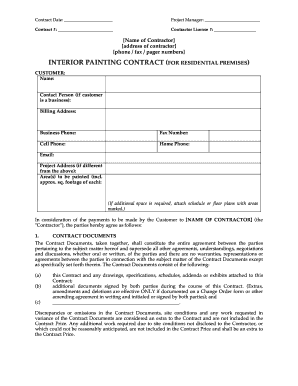 painting contract template