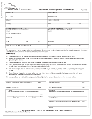 Rural Community Insurance Company Assignment Of Indemnity Form ...