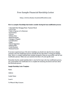 Hardship Letter For Loan Modification Template Forms - Fillable ...