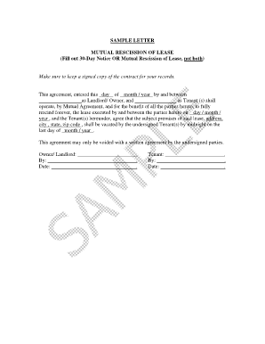 Fillable online chsico s8 mutual rescission of lease chsico fax fill online platinumwayz