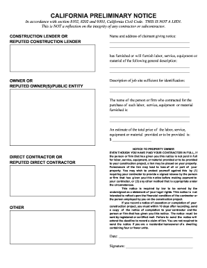 Preliminary Form - Fill Online, Printable, Fillable, Blank | PDFfiller