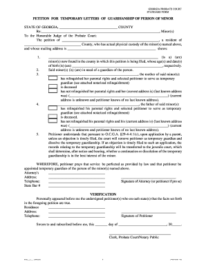 Re: Petition for Temporary Letters of Guardianship of the ... - Forms