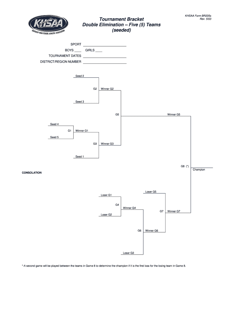 5 Team Double Elimination Bracket Fillable - Fill Online
