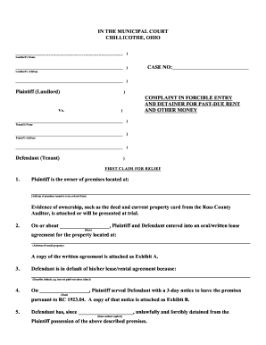 Ohio Municipal Court Eviction Writ Form - Fill Online, Printable ...