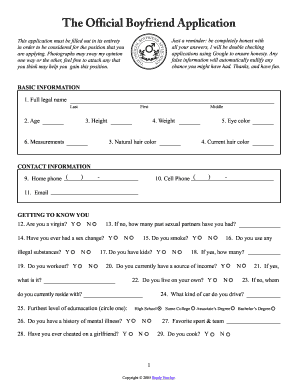 Dating application form funny cat 10