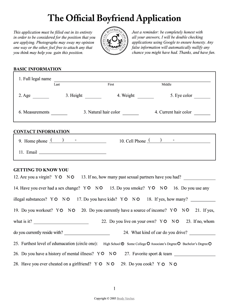 Boyfriend Application Fill Online Printable Fillable