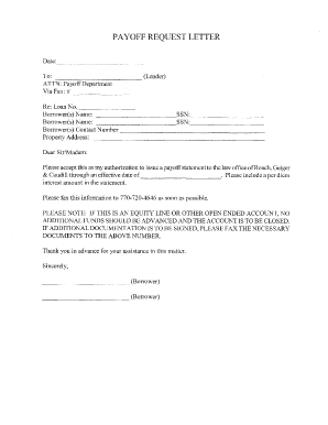 Fillable Online Payoff Request Letter Form PDF Fax Email Print