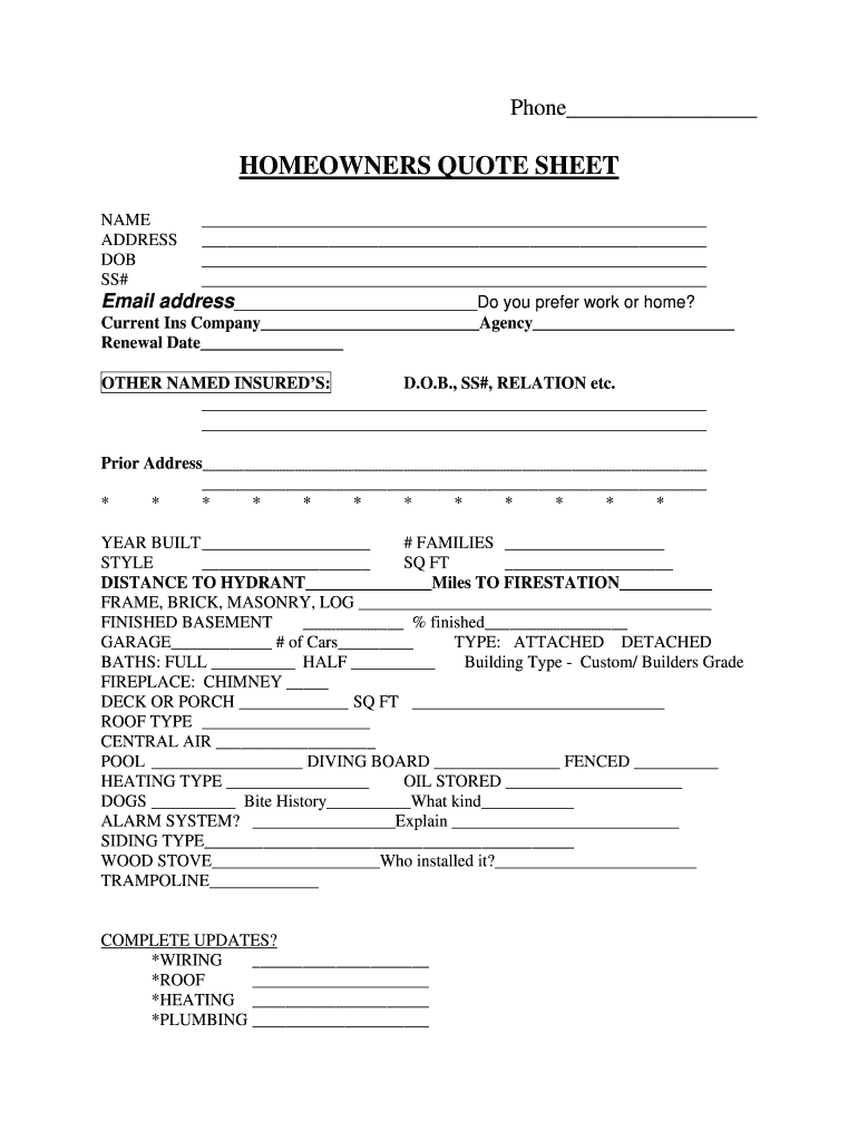 Home Insurance Quote Fill Online Printable Fillable Blank Pdffiller