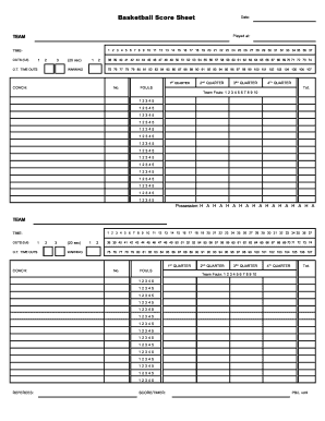 Fillable basketball score sheet form