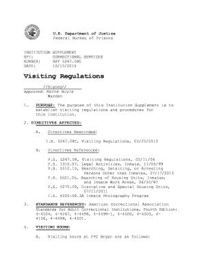 bop visitation form Form Bp S629052 - Fill Online, Printable, Fillable, Blank | PDFfiller