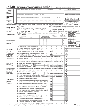 form 1040 us individual income tax return 2017  Fillable Online irs 17 U.S. Individual Income Tax Return ...