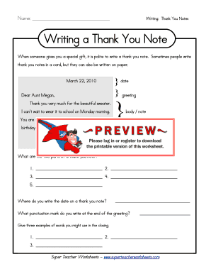thank you note worksheets form