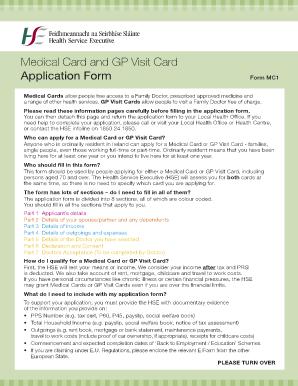 Fillable Online Medical Card and GP Visit Card Application Form ...