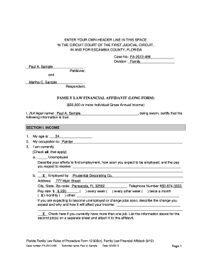 Bill Of Sale Form Florida Family Law Financial Affidavit Long Form ...