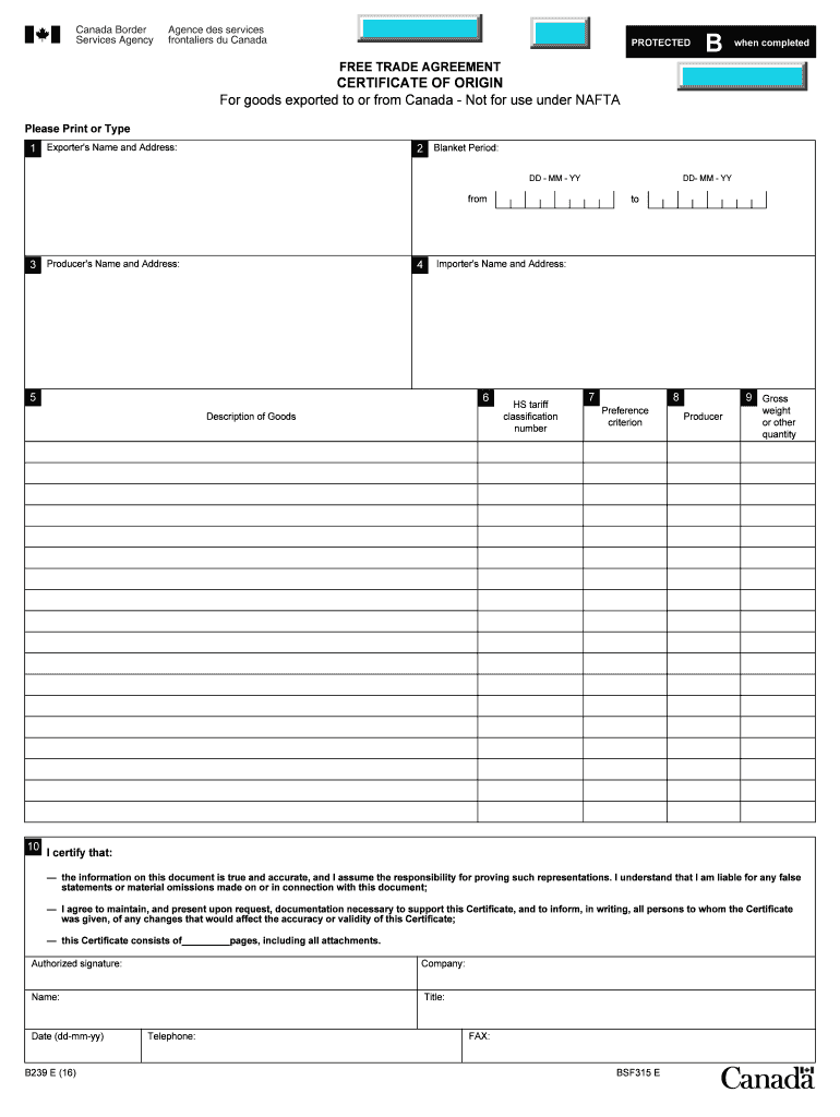 photograph about Printable Nafta Form called Nafta Certification Of Origin Canada - Fill On-line, Printable