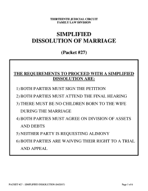 Dissolution Of Marriage Packet # 27 - Fill Online, Printable ...