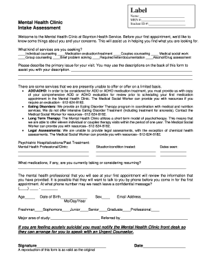 Mental Health Intake Assessment Form Fill Online Printable Fillable Blank Pdffiller