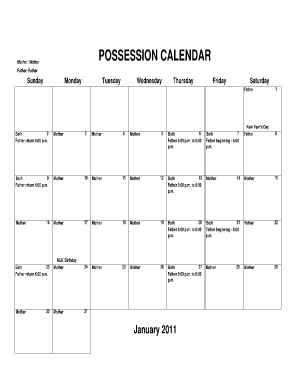 online posession calendars form