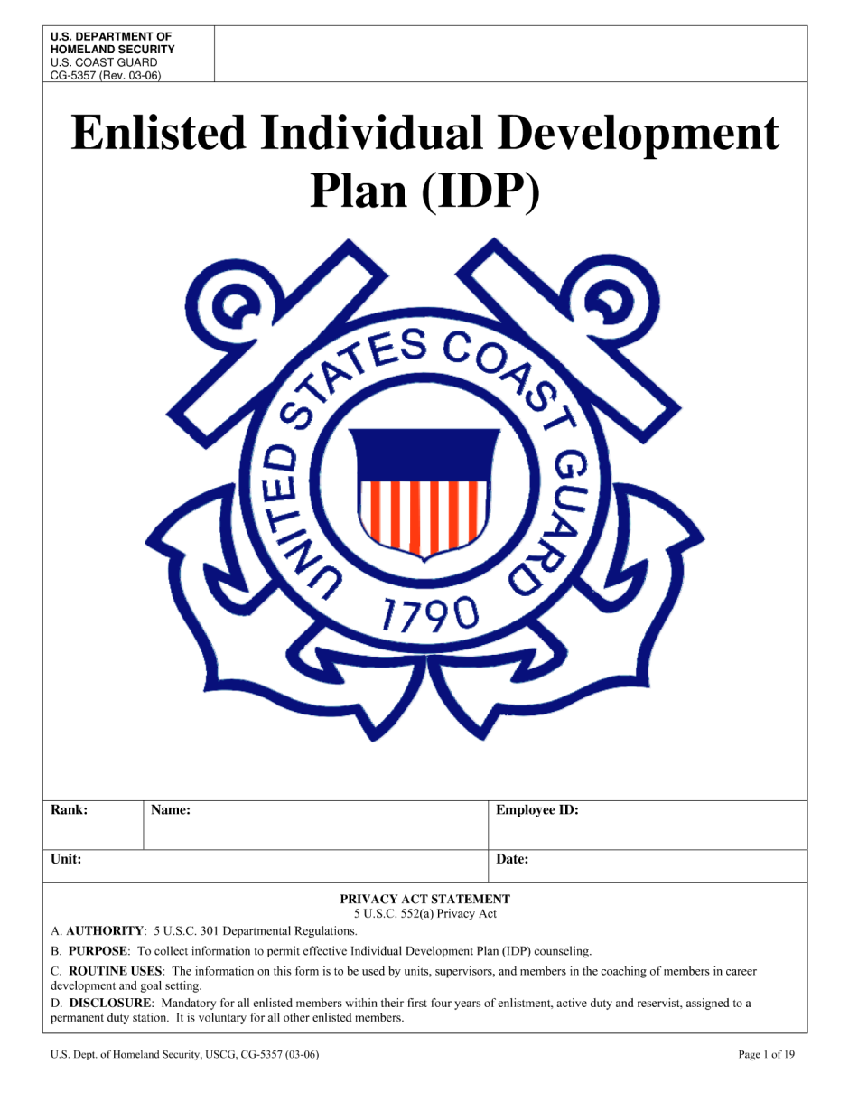 coast guard individual development plan